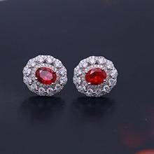 银Ag925合成红宝石耳钉