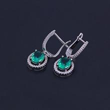 银925绿刚玉耳环