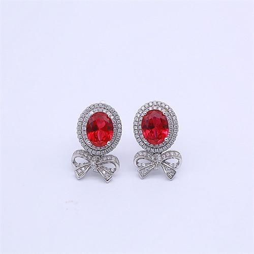 银925红刚玉耳环