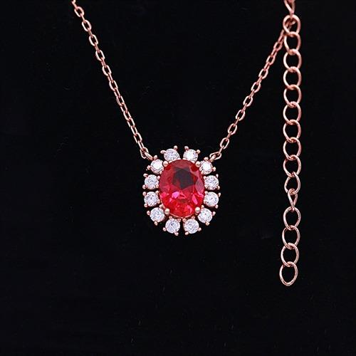 银925红刚玉项链挂坠